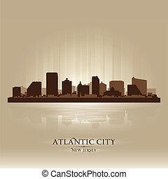 stad, silhouette, stad, skyline, atlantische , new jersey