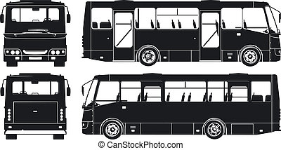 stad, silhouettes, set, bus