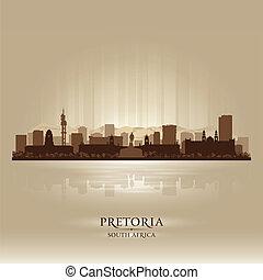 stad, silhuett, afrika, horisont, pretoria, syd