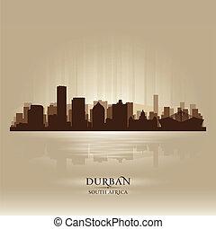 stad, silhuett, durban, afrika, horisont, syd