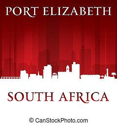 stad, silhuett, elizabeth, backgrou, afrika, horisont, syd, ...
