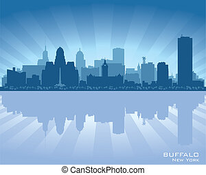 stad, silhuett, horisont, buffel, new york