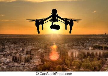 stad, silhuett, paris, panorama, flygning, drönare, ovanför