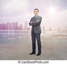 stad, singapore, op, zakenman, glimlachen gelukkig