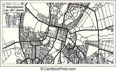 stad, skissera, karta, bloemfontein, afrika, map., retro, ...