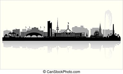 stad skyline, australië, silhouette, canberra