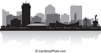 stad skyline, kansas, wichita, silhouette
