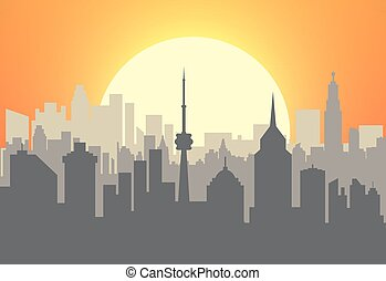 stad skyline, ondergaande zon