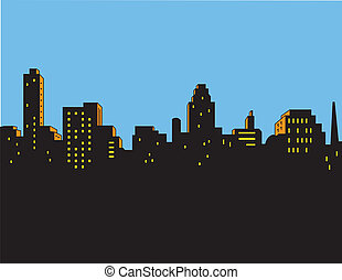 stad skyline, retro, classieke