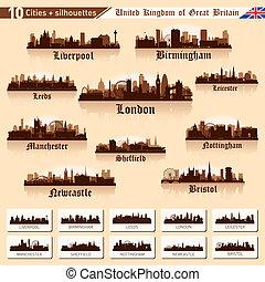 stad skyline, set., tien, steden, van, groot-brittannië, #1