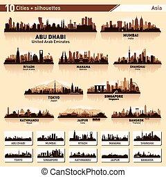 stad skyline, set, tien, vector, silhouettes, van, azie, #1