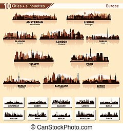 stad skyline, set, tien, vector, silhouettes, van, europa, #1