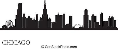 stad skyline, silhouette, achtergrond, chicago