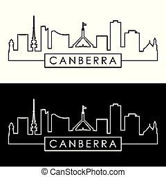 stad, skyline., style., canberra, lineair