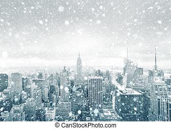 stad skyline, york, gedurende, nieuw, snowstorm