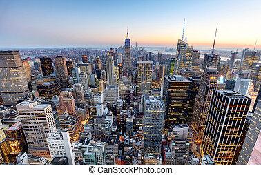 stad, -, skyline, york, nieuw, manhattan