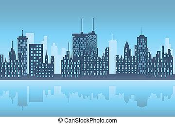 stad, skyscapers, op de avond