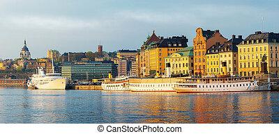 stad, slussen, oud, stockholm