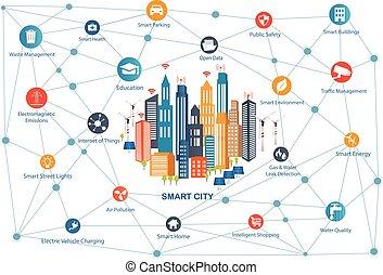 stad, smart, netwerk, communicatie, draadloos