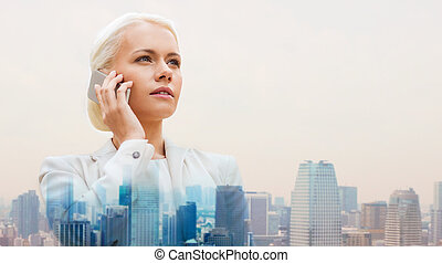 stad, smartphone, allvarlig, affärskvinna