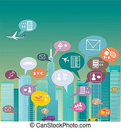 stad, social, nätverk