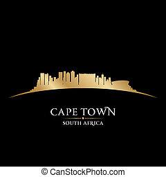 stad, stad, afrika, illustration, silhouette., horisont, vektor, udde, syd