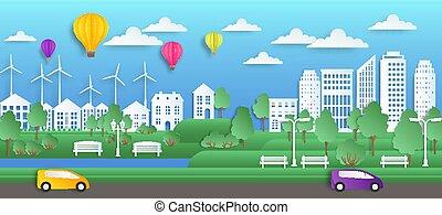 stad, stad, ecologie, natuur, knippen, plat, papier, milieu, vector, zomer, achtergrond., schoonmaken, origami, cityscape, groene, art., stijl