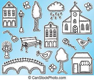 stad, stad, elementara, eller, design