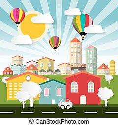 stad, stad, knippen, kleurrijke, plat, auto, abstract, -, illustratie, papier, huisen, straat, vector, bomen, ontwerp, ballons