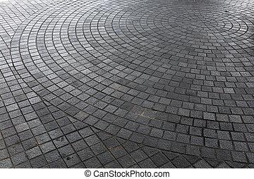 stad, stena däckar, trottoar, gata, kvarter
