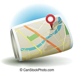 stad, stift, karta, ikon, tecknad film, gps