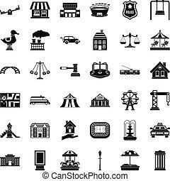 stad, stijl, iconen, set, eenvoudig, kleine