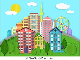 stad, stijl, illustration., landschap., kleur, moderne, papier, vector, karton, stedelijke
