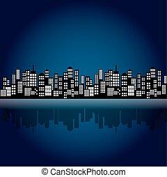 stad, stijl, nacht, spotprent, skyline.