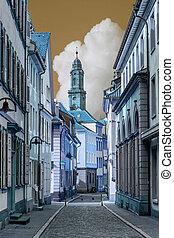 stad, stijl, oud, kleur, straten, heidelberg