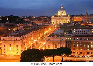 stad, straat., basiliek, peter's, vatican