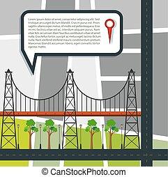 stad straat, kaart, met, brug, en, park