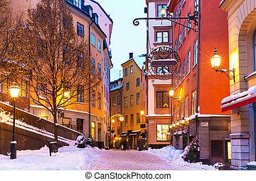 stad, sverige, stockholm, gammal, vinter