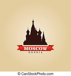 stad, symbool, illustratie, rusland, vector, moskou
