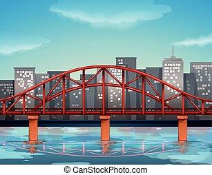 stad syn, med, bro, över, den, flod