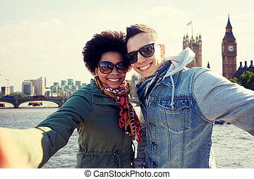 stad, tiener, selfie, boeiend, londen, paar, vrolijke