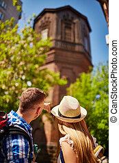 stad, toeristen, buitenlandse