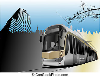 stad, tram, panorama, illustratie, vector, auto.