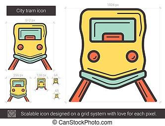 stad, tramlijn, icon.