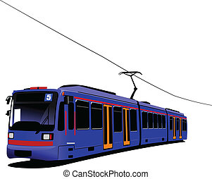 stad, transport., tram., vector, illus
