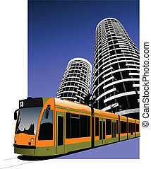 stad, transport., tram., vector, illus