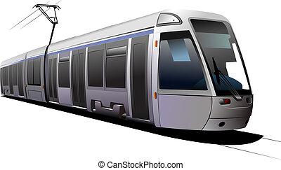 stad, transport., tram., vector, illustratie
