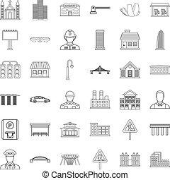 stad, uitvoerend, iconen, set, schets, stijl