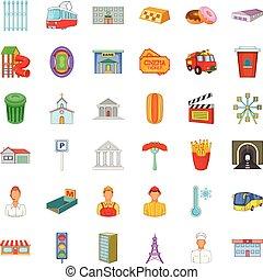 stad, uitvoerend, iconen, set, spotprent, stijl