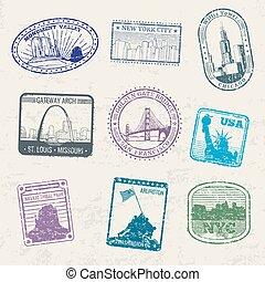 stad, usa, resa, symboler, frimärken, posta